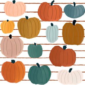 October's Pumpkin Harvest on Rust Stripes