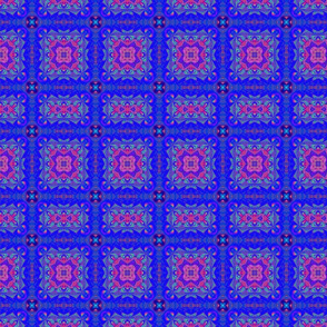 Pink and Blue Tiles Fractal Abstract