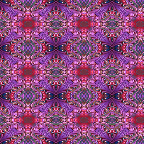 Sunset over the Purple Flowers Fractal Abstract.