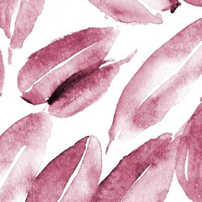 Burgundy nature delight • watercolor leaves