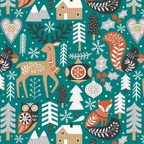 scandinavian christmas - green, small