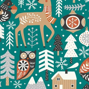 scandinavian christmas - green, large
