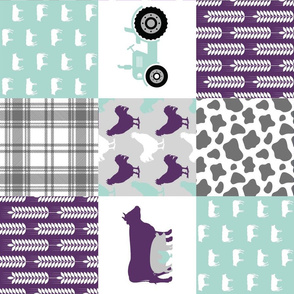 FARM6_Rotated | Farm Wholecloth Quilt | Purple Teal Patchwork Quilt Top