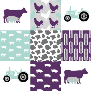 FARM6 | Farm Wholecloth Quilt |Purple Teal Cow Tractor Rooster