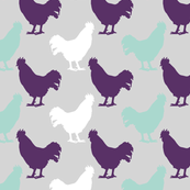 Rooster   Purple Teal   Farm Animals
