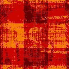 modern plaid tweed check orange yellow red