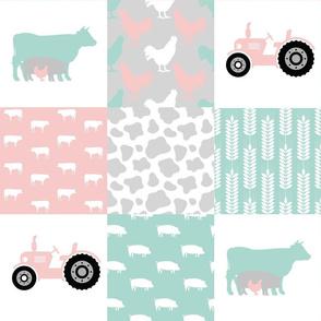 FARM7   Farm Wholecloth Quilt   Pink Mint Cow Pig Tractor Patchwork Quilt
