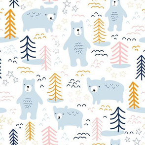 Bears In The Winter Forest