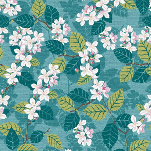 Teal and Green Tossed Cherry Blossoms
