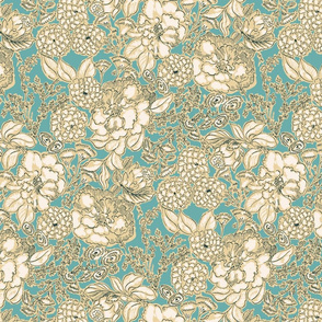 Teal and Gold Floral