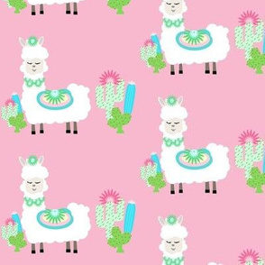 Fancy LLAMA 2 cactus- white on pink MED4