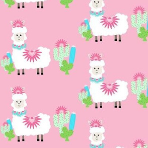 Fancy LLAMA cactus- white on pink MED4