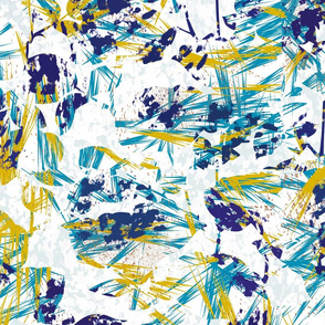 Navy and Yellow Abstract Paint Splatter