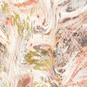 Coral and Gold Marble Swirl Texture