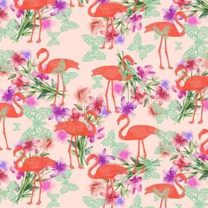 Flamingos, Butterflies, Flowers