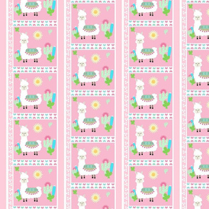 sweet white llama quilt - pink MED498