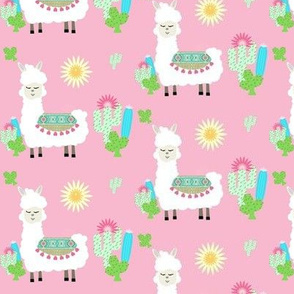 sweet white llama sun and cactus - pink MED367
