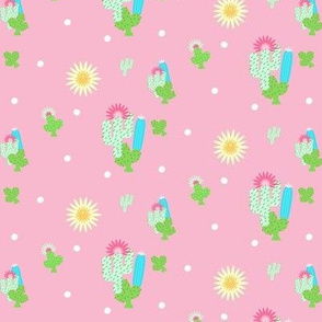 sun and cactus  polka- pink MED367