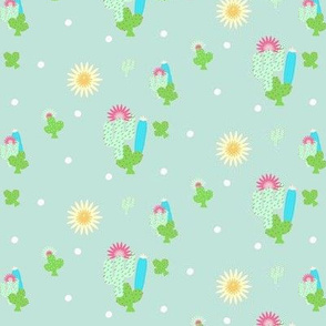 sun and cactus  polka- mint green MED367