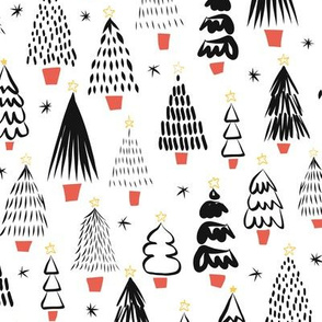 Christmas Trees Black White Red