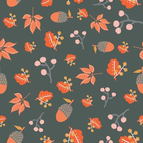 Acorns Maple Leaves And Berries