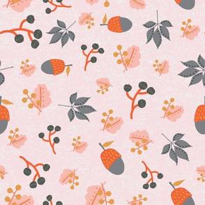 Autumn Foliage Acorns Berries Maple Leaves