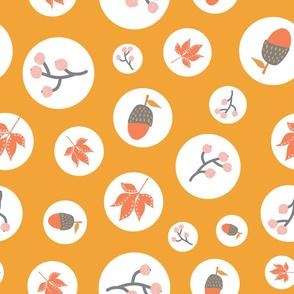 Polka Dots Fall Leaves Orange