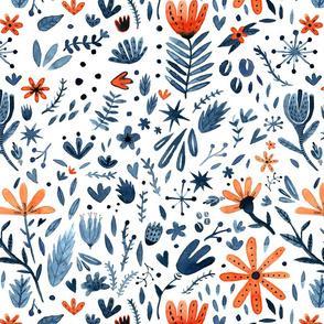 Winter blue and orange watercolor flowers