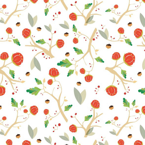 Pattern with acorns, flowers and autumn oak leaves