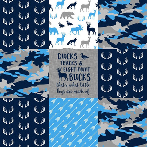 Ducks, Trucks, and Eight Point bucks - patchwork - woodland wholecloth - camo (blue, navy, grey) duck & buck C19BS