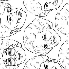 Rotated - Fabric by the Yard Golden Girls Illustration in Black + White