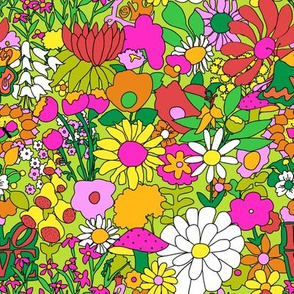 Smaller Scale - 60's Groovy Garden in Lime Green