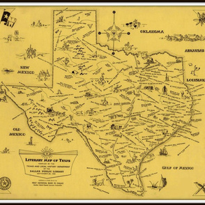 Texas Literary Map - vintage, small