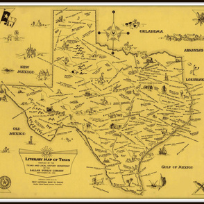 Texas Literary Map - vintage, large