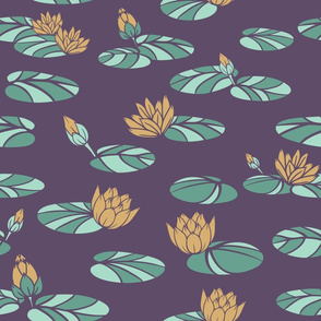 Vector Vintage Water Lilies in Swan Pond on Purple seamless pattern background.