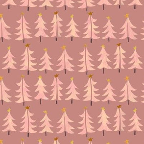 Pink Tree Forest in Dusty Pink