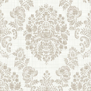 Cream and Tan Vintage Damask