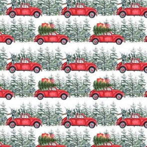 "3""  Holiday Christmas Tree Car and dachshund in Woodland, christmas fabric,dachshund dog fabric 1"