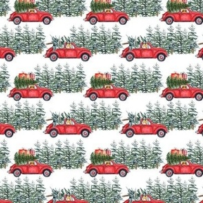 "3"" Holiday Christmas Tree Car and Corgi in Woodland, christmas fabric,corgi dog fabric 1"