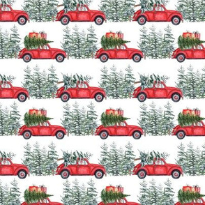 "3"" Holiday Christmas Tree Car and dachshund in Woodland, christmas fabric,dachshund dog fabric 2"