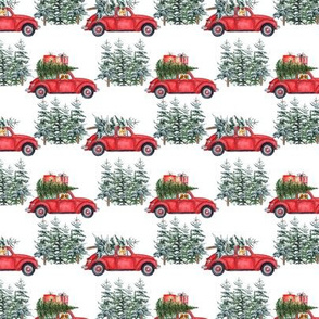 "3""  Holiday Christmas Tree Car and Corgi in Woodland, christmas fabric,corgi dog fabric 2"
