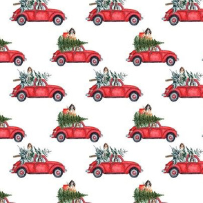 "3"" Holiday Christmas Tree Car and cocker spaniels in Woodland, christmas fabric, cocker dog fabric 1"