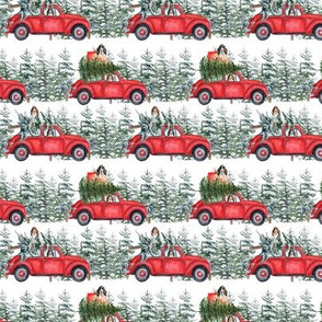 "3"" Holiday Christmas Tree Car and cocker spaniels in Woodland, christmas fabric, cocker dog fabric 3"