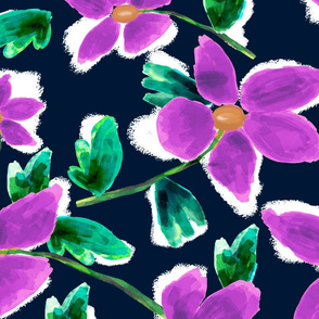 Bright Purple Tossed Painted Floral