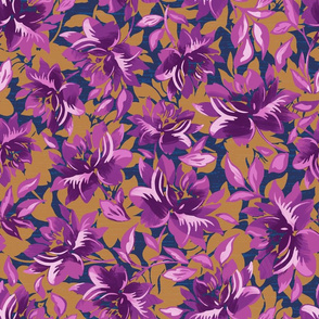 Purple and Gold Tropical Floral