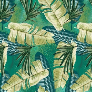 Teal and Green Tossed Tropical Palm Leaves