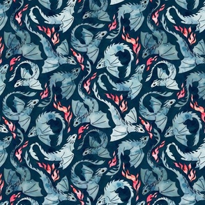 Dragon fire dark blue small
