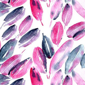 Nature delight in pink and grey • watercolor leaves