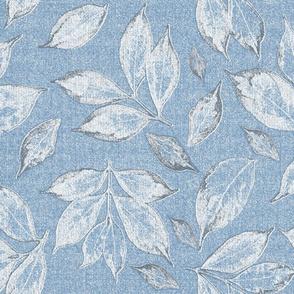 leaves on placid blue