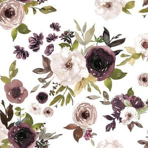 Dusty Plum Florals // White